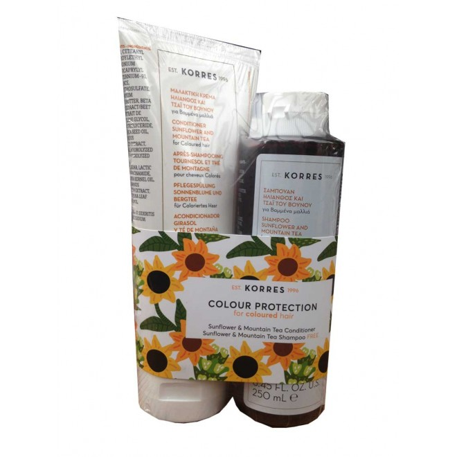 Korres kit color protection 1+1 sunflower & mountain tea